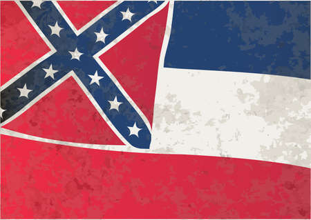 The flag of the USA state of Mississippi with grunge effect Vector