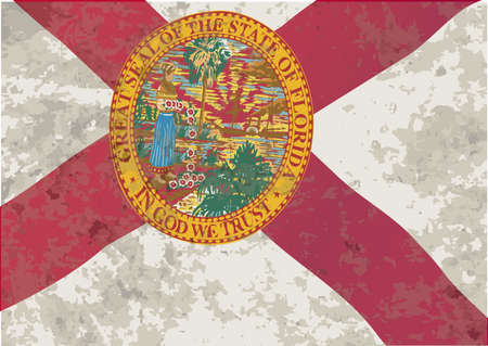 sunshine state: The flag of the USA state of Florida with grunge effect Illustration