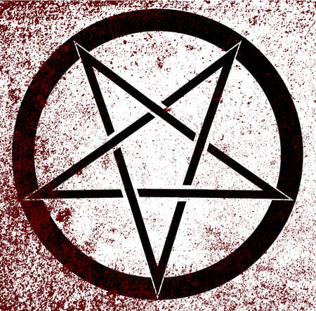 The five pointed pentagram over a white background Vector
