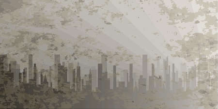 bleak: A grey cityscape with pollution shown in grey and silhouette. Illustration