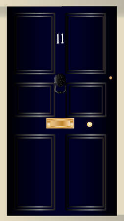 number eleven: The front door of number eleven downing streat the home of the British Chancellor of the Exchequer.