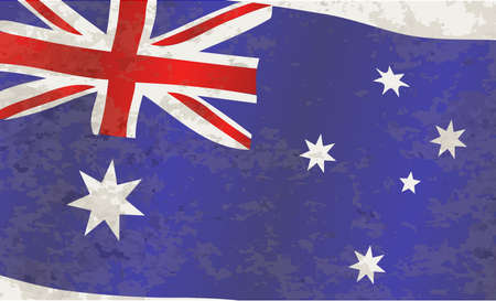 grunge union jack: The flag of Australia red white and blue with grunge Illustration