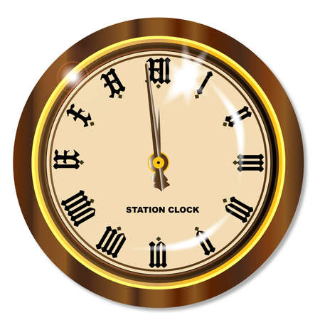 railway station: A traditional railway station hanging clock isolated on white. Illustration