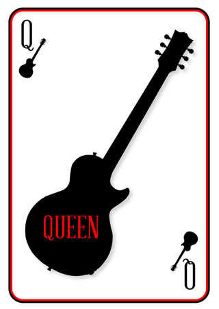 A guitar used as the Queen motif in a playing card