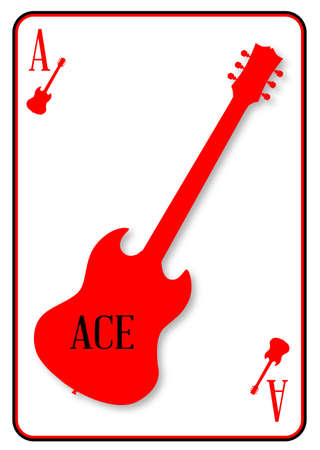 sg: A guitar used as the ace motif in a playing card