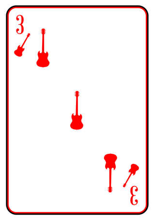 gibson: A guitar used as the three on a playing card Illustration