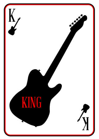 tele: A guitar used as the king motif in a playing card Illustration