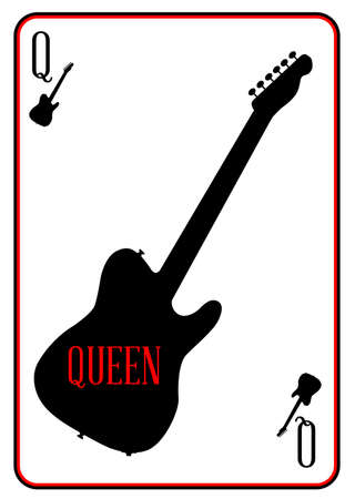 tele: A guitar used as the queen motif in a playing card Illustration