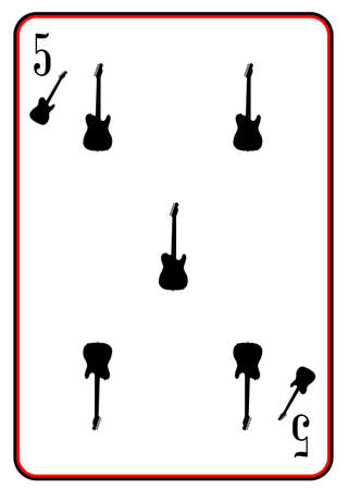 telecaster: A guitar used as the five in a pack of playing cards Illustration