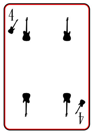 telecaster: A guitar used as the four in a pack of playing cards Illustration