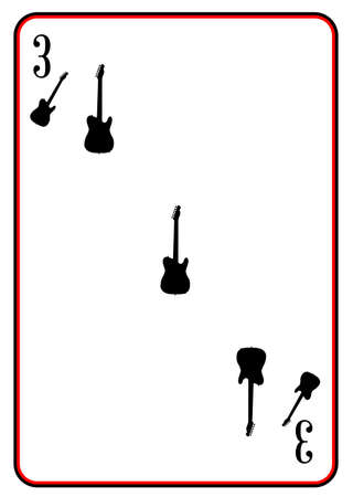 A guitar used as the three in a pack of playing cards