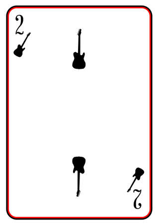 A guitar used as the two in a pack of playing cards