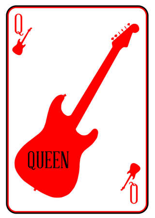 strat: A guitar used as the queen motif in a playing card Illustration