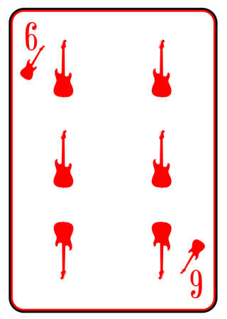 strat: A guitar used as the six motif in a playing card