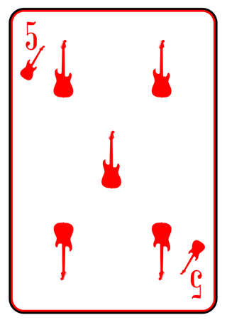 stratocaster: A guitar used as the five motif in a playing card Illustration