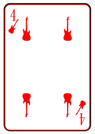 strat: A guitar used as the four motif in a playing card Illustration