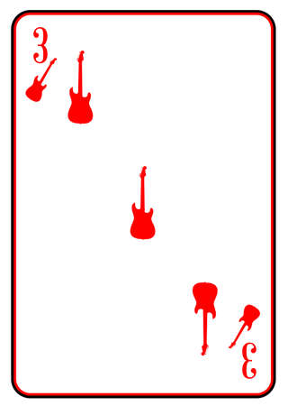 stratocaster: A guitar used as the three motif in a playing card Illustration