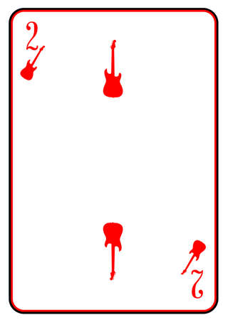 strat: A guitar used as the two motif in a playing card Illustration