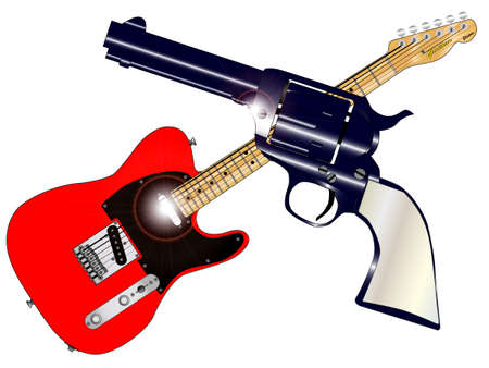 six shooter: A country guitar and six shooter over a white background