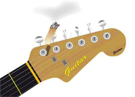 stratocaster: Guitar headstock with a cigarette attached to a string