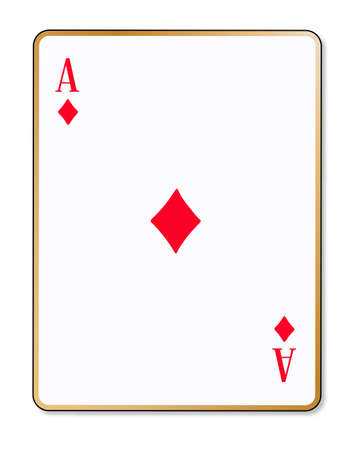 ace of diamonds: The playing card the ace of diamonds over a white