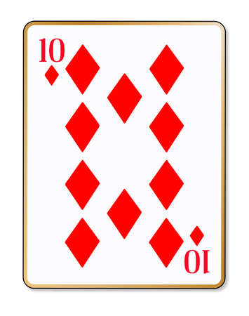 ten: The playing card the ten of diamonds over a white