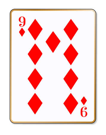 nine: The playing card the nine of diamonds over a white