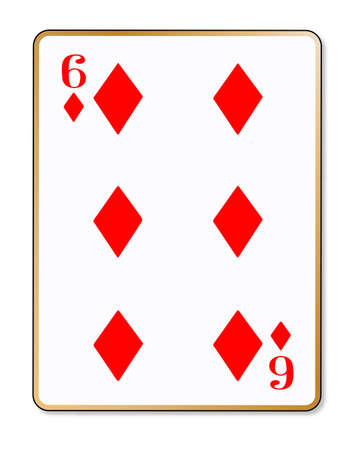 The playing card the six of diamonds over a white  Illustration