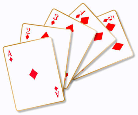 card making: The playing card making a flush over a white background