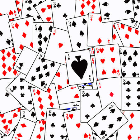 Playing cards in random order as a background
