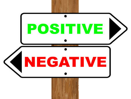 negativity: Positive and Negative signs fixed to a wooden pole over a white background