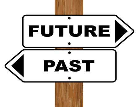 fixed: Future and Past signs fixed to a wooden pole over a white background