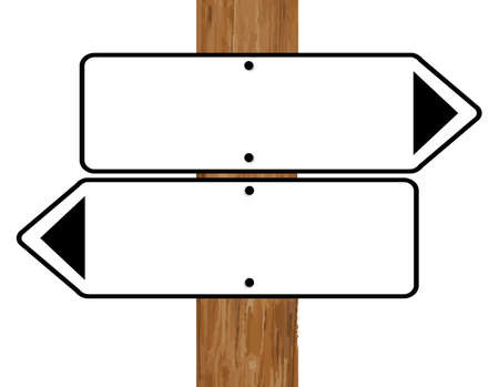 fixed: Two blank Signs signs fixed to a wooden pole over a white background