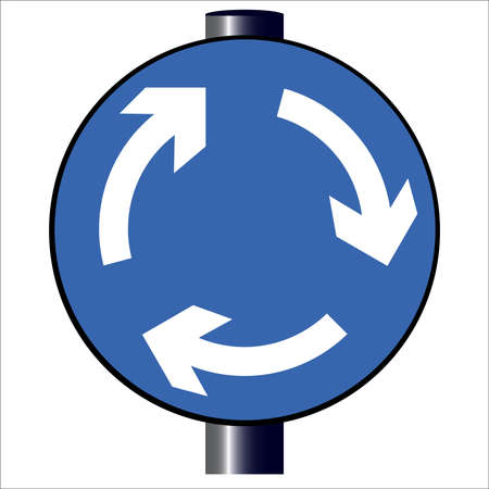 A large round blue traffic sign displaying traffic island arrows