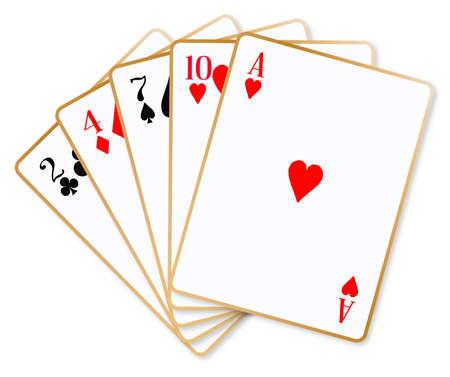 poker hand: The poker hand named high hand over a white background Illustration
