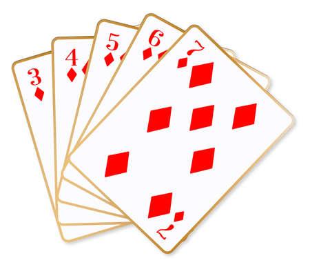 poker hand: The poker hand straight flush over a white background Illustration