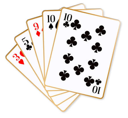 poker hand: The poker hand of one pair over a white background Illustration