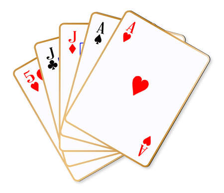 poker hand: The poker hand two pair over a white background Illustration