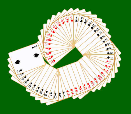 The complete fifty two cards in the pack on a green background.