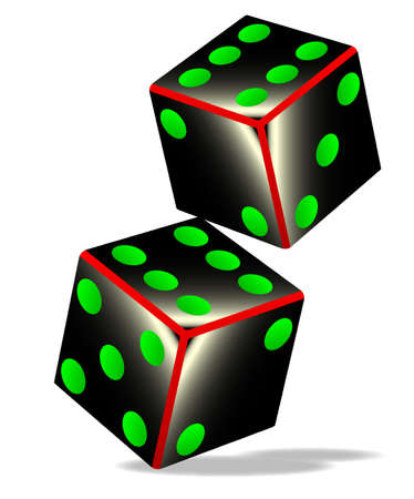 tumbling: Two tumbling dice over a white background