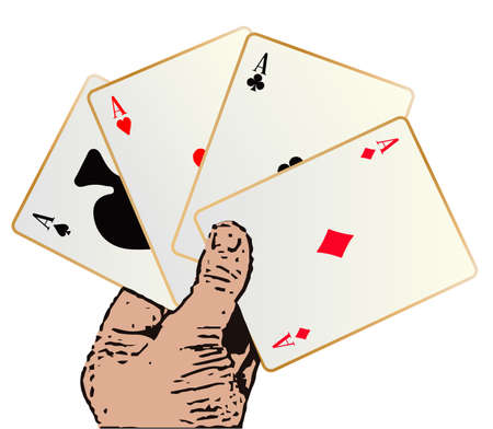 bluff: The best winning hand in a poker game over a white background Illustration