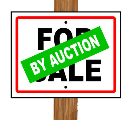 bidder: A typical for sale sale sign with a by auction splash over a white background Illustration