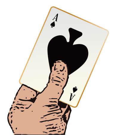 bluff: Una mano del fumetto che tiene l'asso di picche su uno sfondo bianco