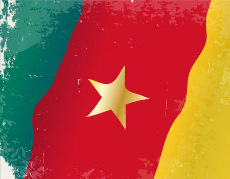 cameroon: The flag of the African country of Cameroon