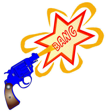 six shooter: A snub nose handgun with bang text, isolated over a white background.