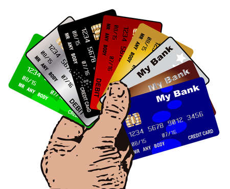 A hand holding a collection of credit and debit cards over a white background Vector