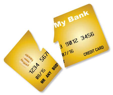 A cut credti card over a white background Vector