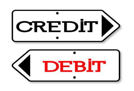 fixed: Credit Debit arrow signs fixed to a wooden pole over a white background