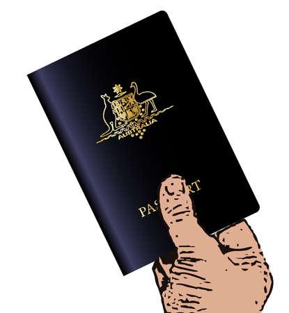 oz: A hand holding an Australian modern passport over a white background