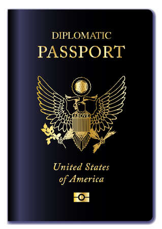 diplomatic: United States of America Diplomatic passport over a white background Illustration